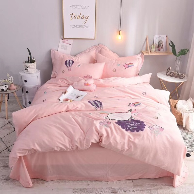 Cartoon Pink Unicorn Egyptian Cotton Girl Kids Bedding Set Duvet Cover Bed Sheet Pillowcases King Queen