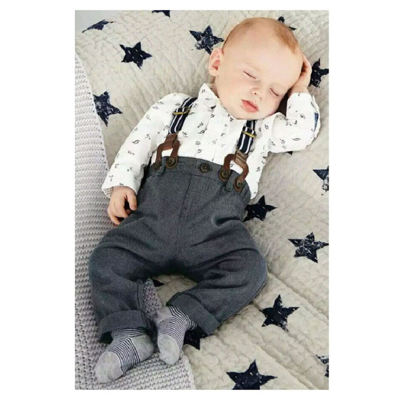 New Born Baby Clothes Cartoon Cute Baby Boy Set Red Straps T-Shirt And Baby Overalls Brand Fashion Baby Meisjes Kleding 2pcs set baby clothes set boy