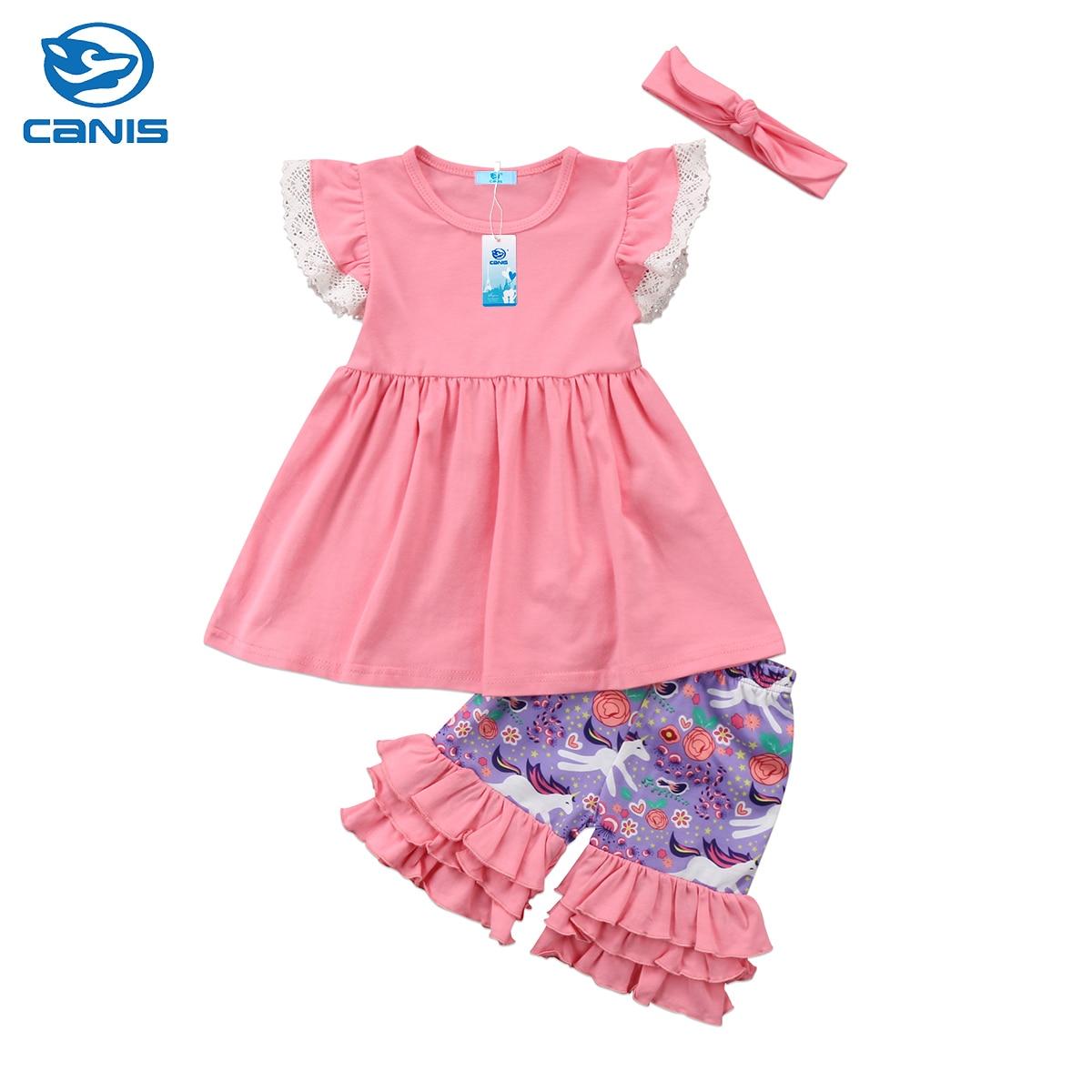 2018 Brand New Toddler Infant Child Kids Girls Lace Tops Dress Unicorn Shorts Headband 3Pcs Cartoon Outfits Set Ruffled Clothes