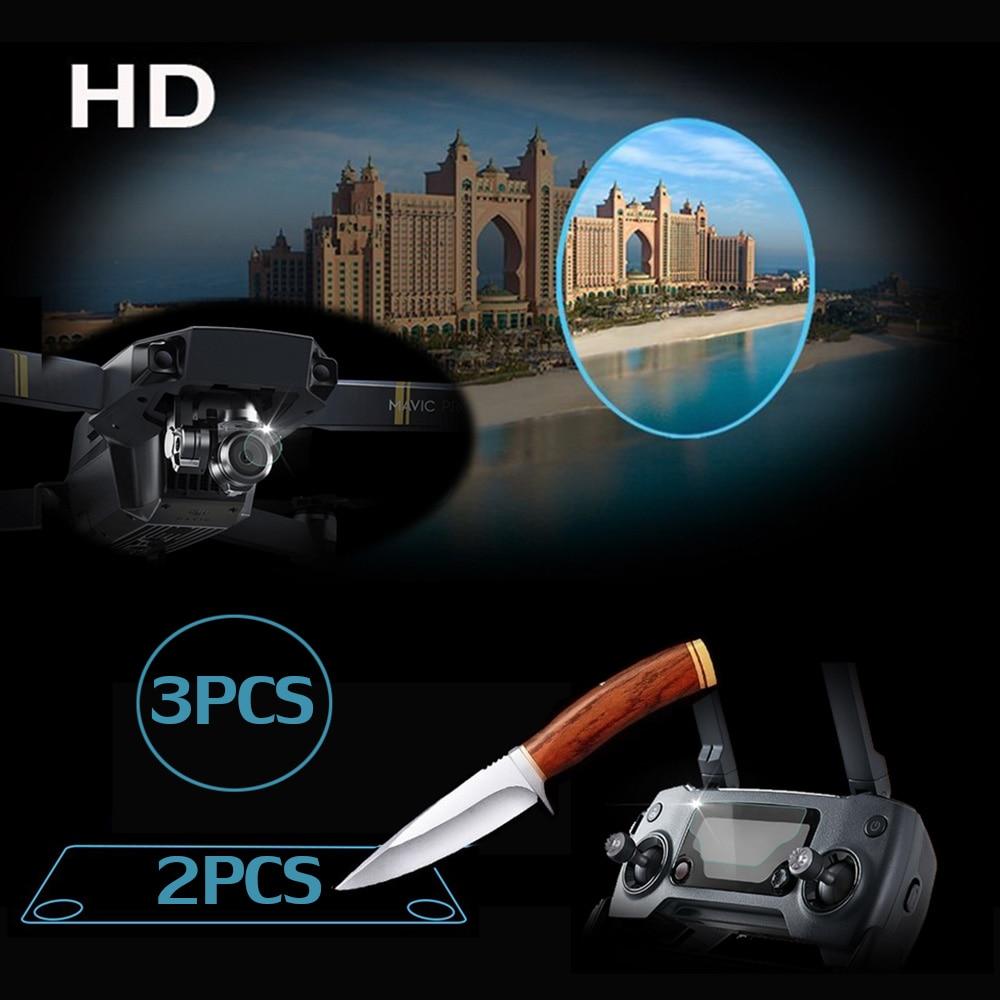 Easttowest DJI Drone Mavic Accessories 3pcs Mavic Pro Lens Film + 2pcs Remote Controller Screen Glass Film Protector for DJI MAV