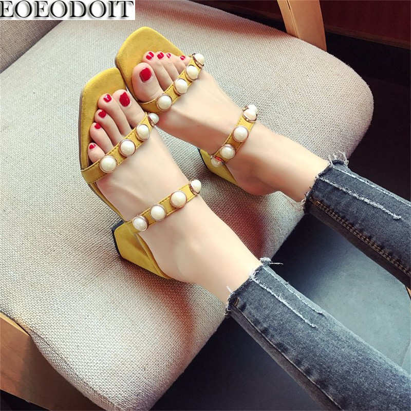 EOEODOIT Summer Sandals Women Pearl Open Toe Chunky Heel Open Toe Pumps Shoes High Heel Brief With Pearl Slippers