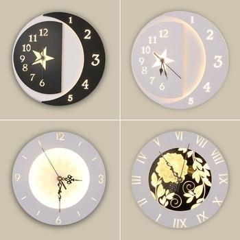 Children Bedroom Bedside Star Flower Wall Clock Sconce Wall Light Light  Fixtures Bed Design Modern LED Wall Lamp Art Home Decor