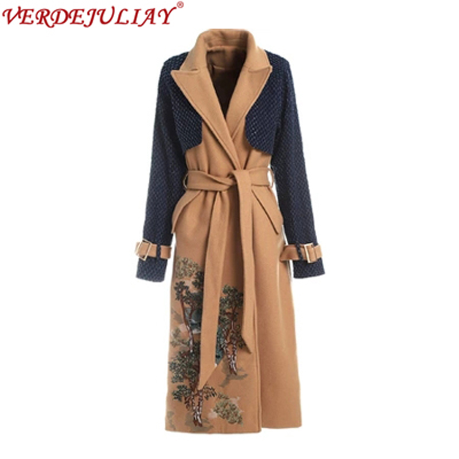 European Fashion 2019 Spring Women   Trench   Flowers Embroidery Turn-down Collar Belt Patchwork Ladies Long Slim Camel Coat