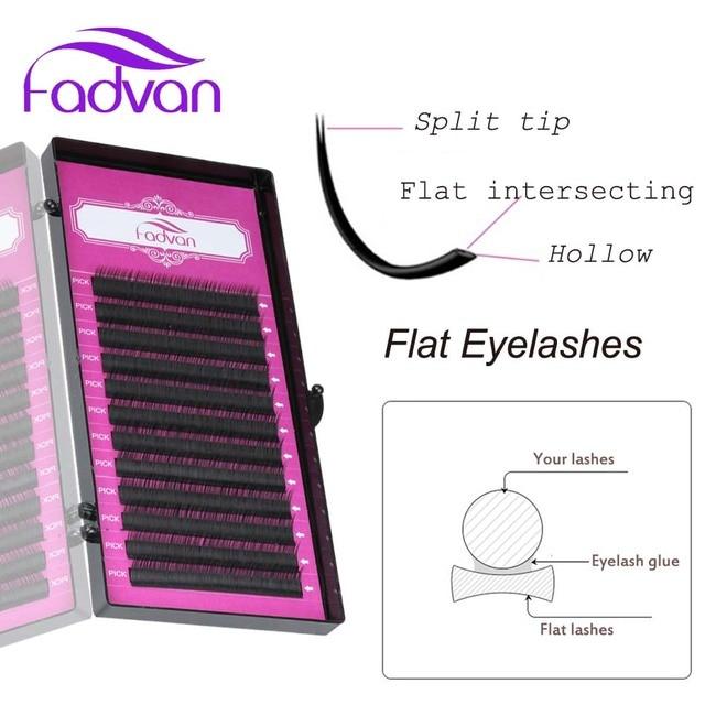 US $3 44 31% OFF|Fadvan Flat Lashes Faux Mink False Eyelash Extension  Supplies for Professional Lash Individual Ellipse Lash Extension Split  Tips-in