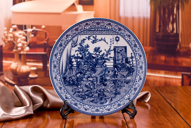 Chinese Antique Blue White Porcelain Wall Decorative Ceramic Plates For Wall Hanging : antique blue plates - pezcame.com