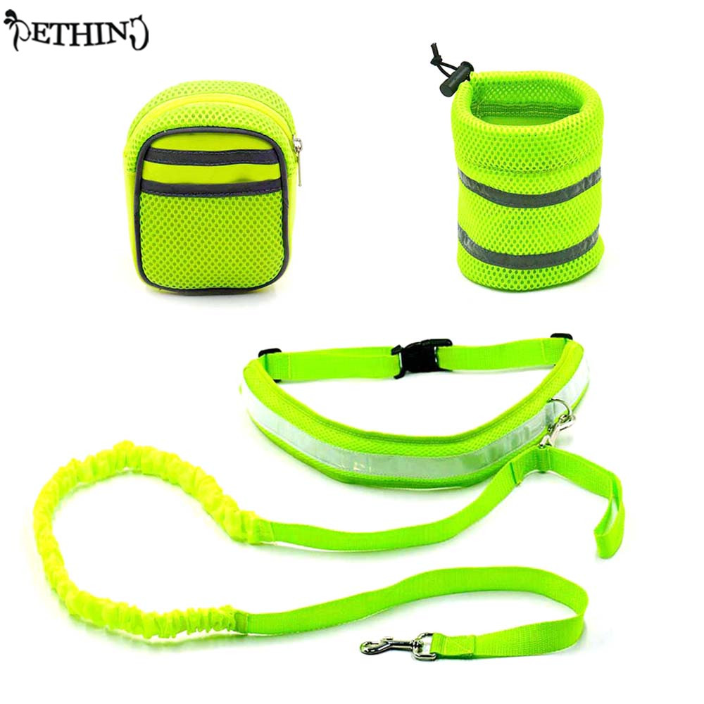 New design running Walking hands free dog leash padded wasit with Pouch/Waist Bags Reflective strip dog jogging walking lead