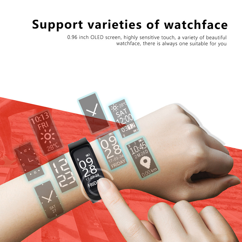 In Stock XGODY F4 Smart Wristband Heart Rate Blood Pressure Pedometer Waterproof Smart Bracelet Fitness Tracker for iOS Android