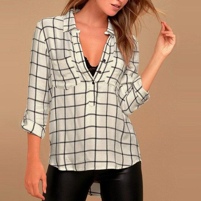 92bc7f6a1c Camisa xadrez Top Escritório Roupas Femininas Mulheres Clássicas Camisas  Brancas Blusa de Manga Longa Blusas De