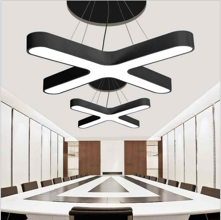 L Basit yaratıcı led ferforje avize ofis modern aydınlatma çapraz şekli yaratıcı tarzı sanat ofis binası lamba led