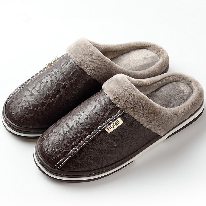 Men's Slippers Indoor Leather Winter Waterproof Warm Home Fur Lady Slippers Men's Couples Shoes Large Size Slippers