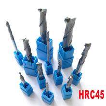 2mm 3mm 4mm 5mm 6mm 8mm 10mm 12mm 2 Flutes HRC45 Tungsten Carbide Flat square End Mills Spiral Bits CNC Endmill Router Bits(China)