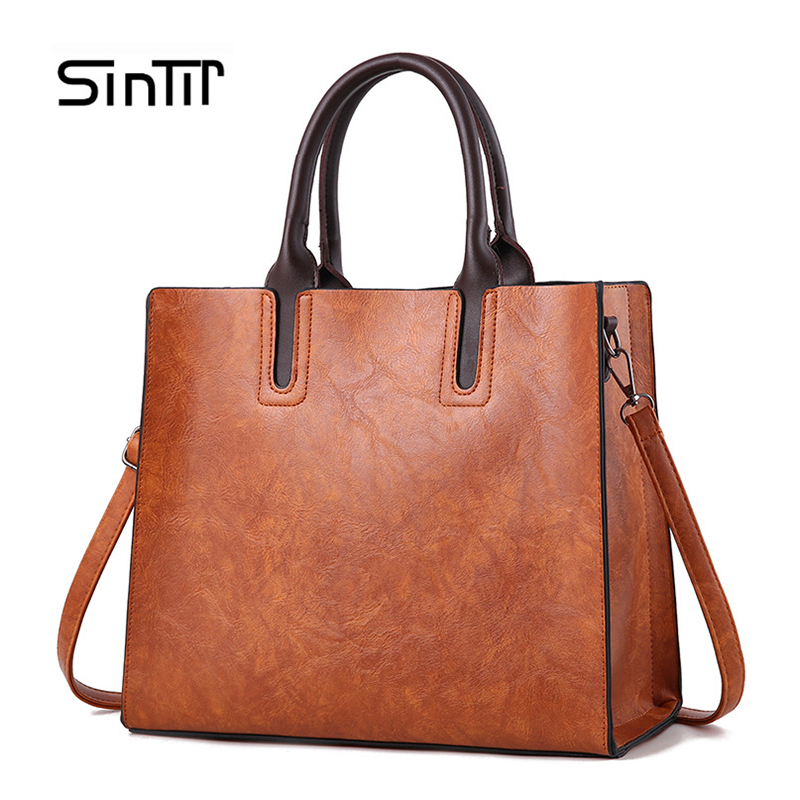 SINTIR Brand Women Pu Leather Handbags Ladies Large Tote Bag Female Square Shoulder Bags Bolsas Femininas Sac A Main Brown Black square pu tote bag