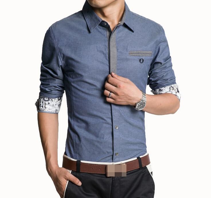 men shirt 2015 brand denim shirt men casual shirt long