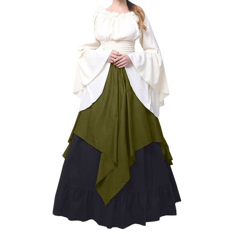 New Pattern Party Long Sleeve Dress Female Sexy Renaissance Medieval Times Clothes 2018