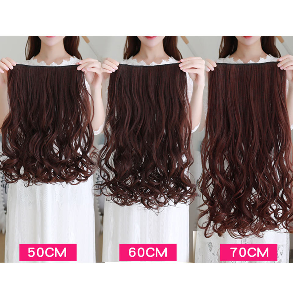 AOSIWIG Olika storlekar Långt vågigt 5 Klipp i hårförlängningar - Syntetiskt hår - Foto 2