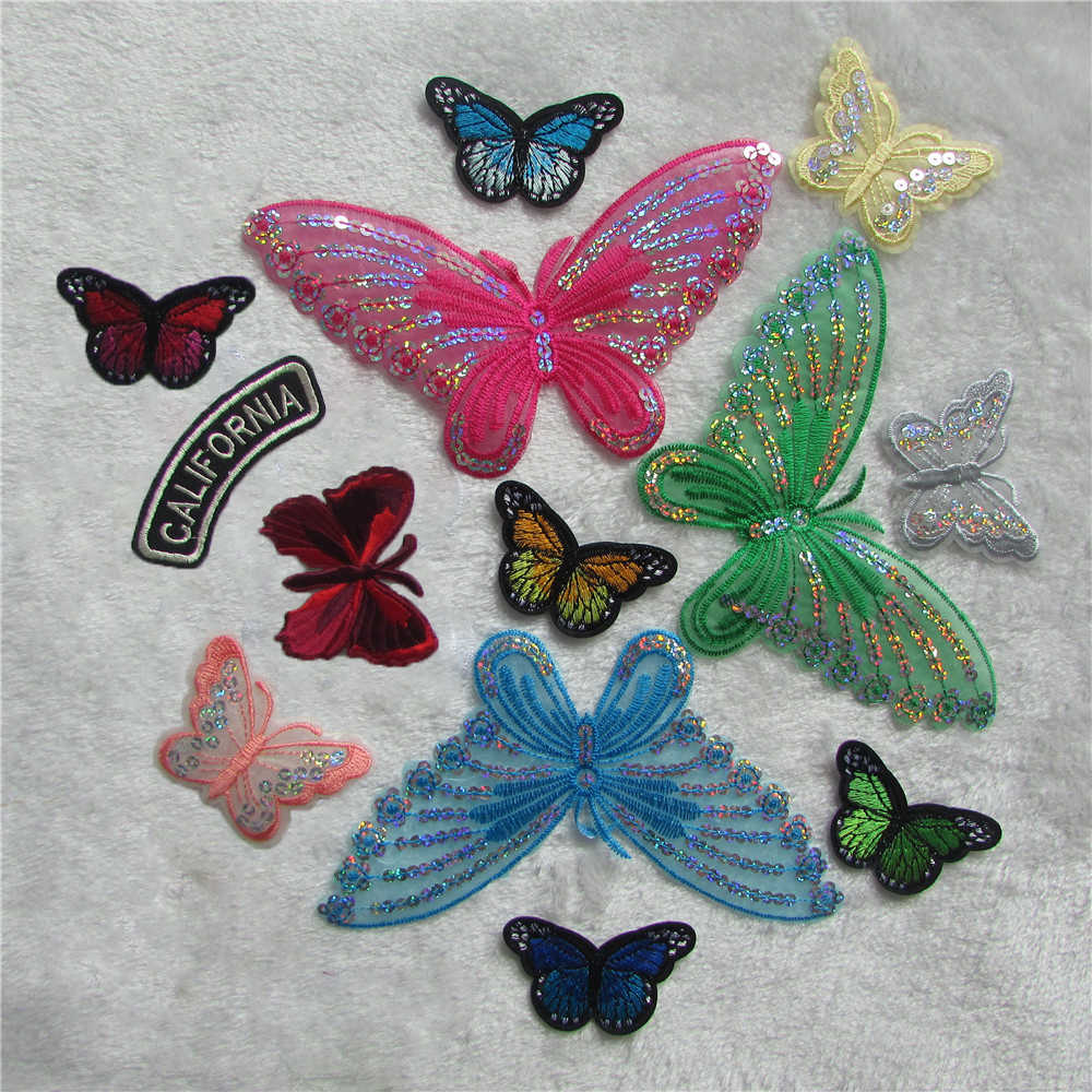 high quality 14 kinds fashion butterfly patterned  patches DIY clothing patch affixed decorative sewing accessories hat clothes