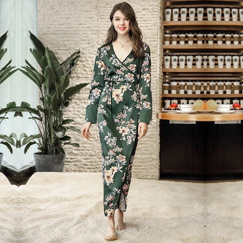 Women Sleepwear Satin Robe Floral Robe Sexy Bathrobe Silk Dress Long Sleeve Home Clothes For Women Robe Elegant Nightwear