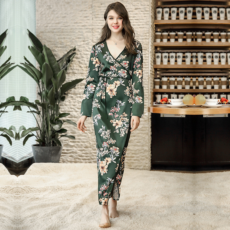 c62b0b49d2f97 ... Silk Dress Long Sleeve Home Clothes for Women Robe Elegant Nightwear.  43% OFF. Previous