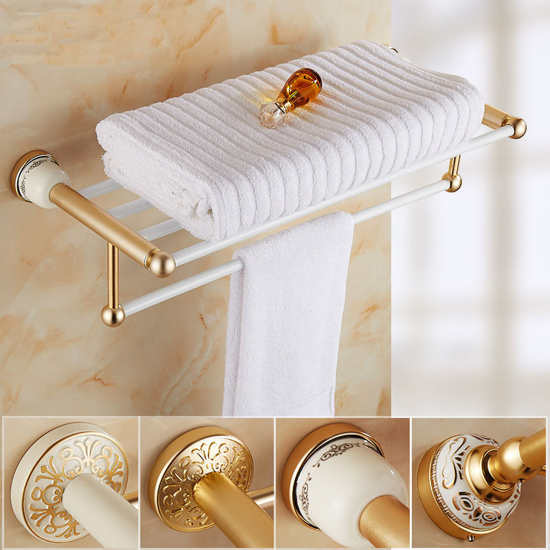 Reproduction Vintage Bath Towels: 60cm Hotel Bath Towel Holder Aluminum Vintage, Gold