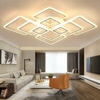تصاميم جديدة مربع حلقة الثريا الإضاءة الحديثة led بريقا دي plafond مودرن الإبداعية ديكور المنزل الأبيض الثريا تركيبات-في أضواء قلادة من مصابيح وإضاءات على