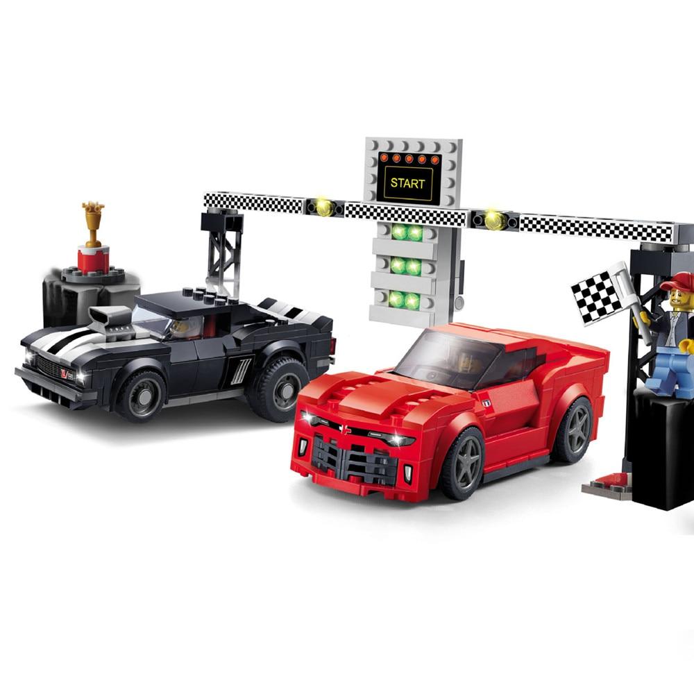 CITY SPEED CHAMPIONS Chevrolet Camaro Drag Race Car Building Blocks Sets Bricks Classic Model Kids Toys Gift Compatible Legoe