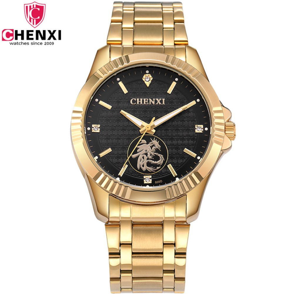 CHENXI Luxury Brand Fashion Man Gold Dress Watch Stainless Steel Unique Golden Men Business Quartz Wristwatch clock Waterproof chenxi men gold watch male stainless steel quartz golden men s wristwatches for man top brand luxury quartz watches gift clock