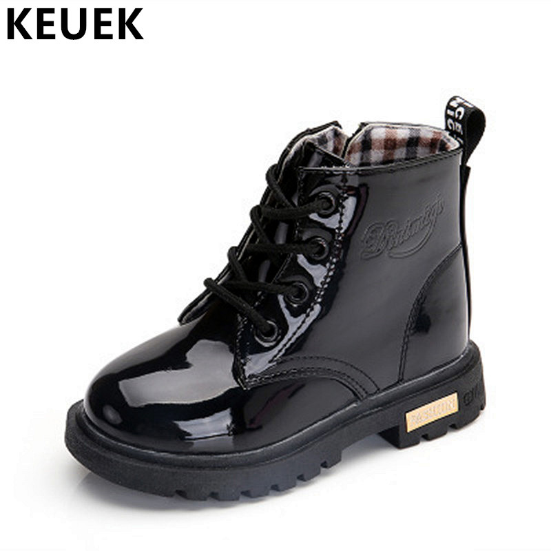 bce0fe62e NEW 2019 Girls Leather Boots Boys Shoes Spring Autumn PU Leather Children  Boots Fashion Toddler Kids Boots Warm Winter Boots 3BB