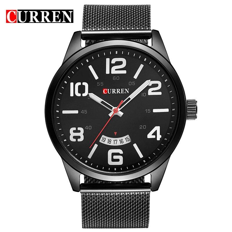 2018 CURREN Men's Watch Top Brand Luxury Mesh Band Watch Ultra Thin Dial black Designer Quartz Wristwatch reloj hombre xfcs цены