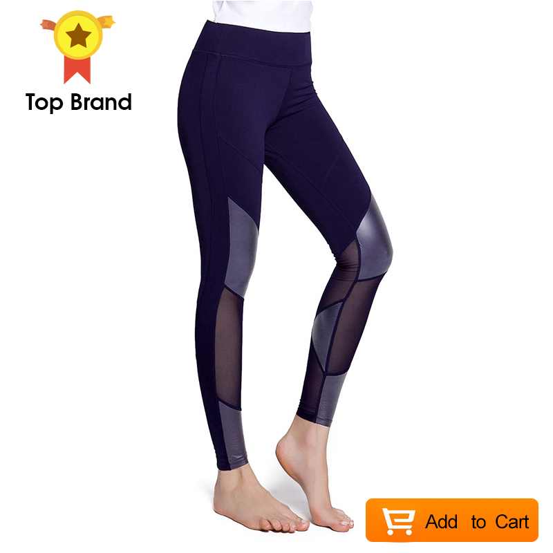 Women Sport Leggings Hot Patchwork Pants Athleisure Running Gym Fitness Trousers Tight Sexy Slimming Mesh Black Fitness Leggings