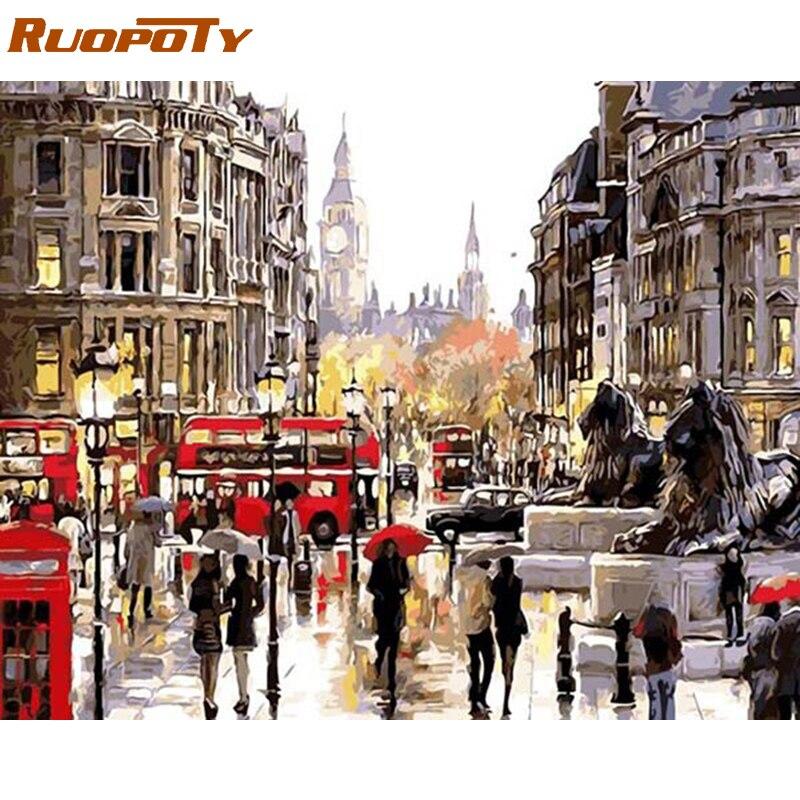 RUOPOTY Rahmen London Straße DIY Ölgemälde Durch Zahl Landschaft Handgemaltes Ölgemälde Moderne Wand Kunst Bild Für Wohnkultur