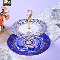 European Wedgwood Bone China Double Decker Plates Cake Fruit Snack Plate Afternoon Tea Ceramic Tray Tableware Decoration