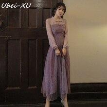 Ubei Ретро сказочное платье Весна Новое элегантное платье с длинными рукавами Струящееся платье с большой линией для морского курорта фиолетовое длинное платье для женщин