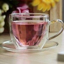 1 Набор 150 мл термостойкая двухслойная модная кофейная чайная чашка и блюдце набор J 1058