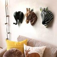 Giraffe Elephant Zebra Deer Head Wall Hanging Resin Animal Head Statue Wall Decoration Home Decorations R1660