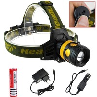 4 Sets LED Headlamp Rechargeable Bike Light Zoomable Flashlight CREE XML T6 1800 Lumens Power By 3*AAA or 18650 With Car Charger