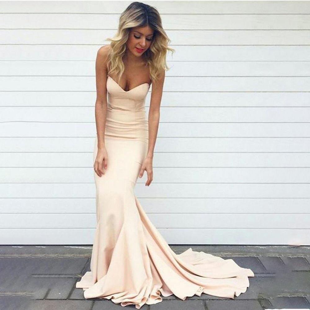 Sweetheart Long   Prom     Dresses   Mermaid Open Back Spandex Sleeveless Sweep Train Evening Formal Party   Dress   Vestido De Fiesta