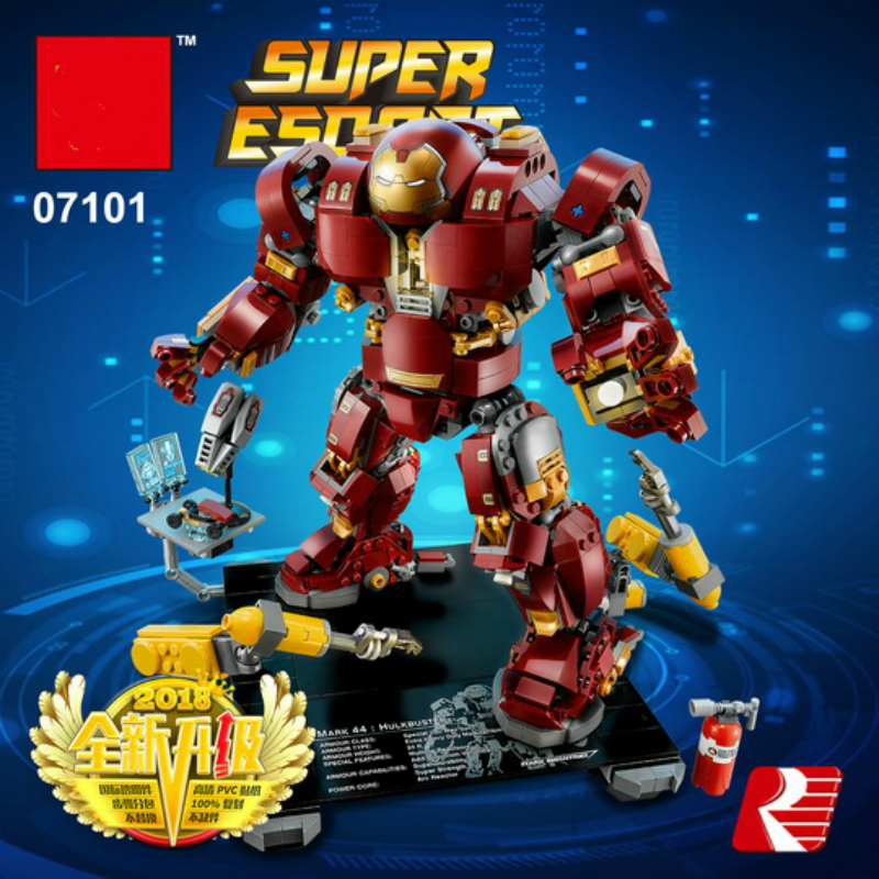 07101 1527Pcs Bricks Super Heroes Iron Man Anti Hulkbuster Model Building Blocks Toy for Boy Compatible with Legoe 76105 Lepine