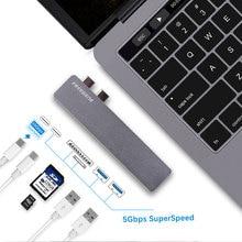 Freegene USB-C Hub Multiport Type-C Hub Aluminum Thunderbolt 3 for 2016/2017 MacBook Pro 13″ 15″ 2 Usb 3.0 Hub Card Reader