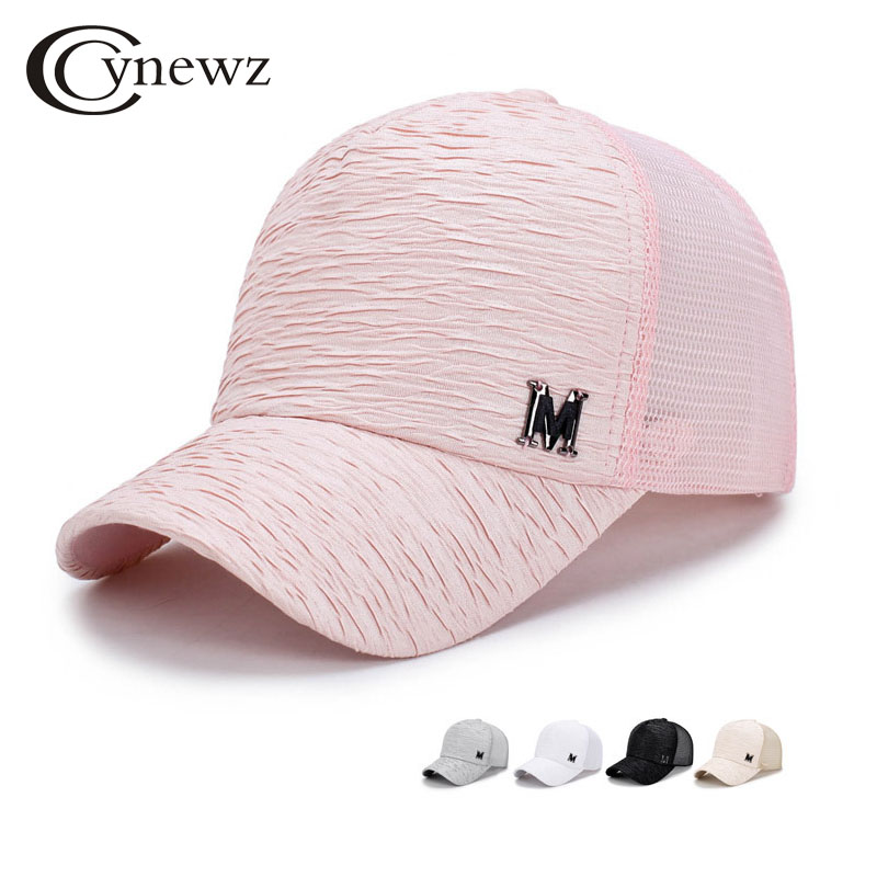 Fashion 2018 Women Summer Mesh Baseball Cap Snapback Brand Hats Hip Hop Wrinkle Design M Letter Solid Casual Cool Sun Shade Hat 2017 winter hat for women men women s knitted hats wrinkle bonnet hip hop warm baggy cap wool gorros hat female skullies beanies
