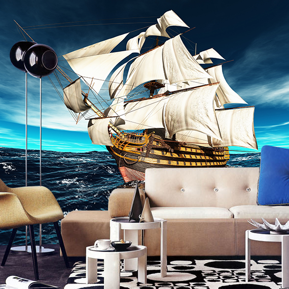 Custom photo wallpaper custom Pirate ship sailing personality mural wallpaper living room sofa TV background wallpaper