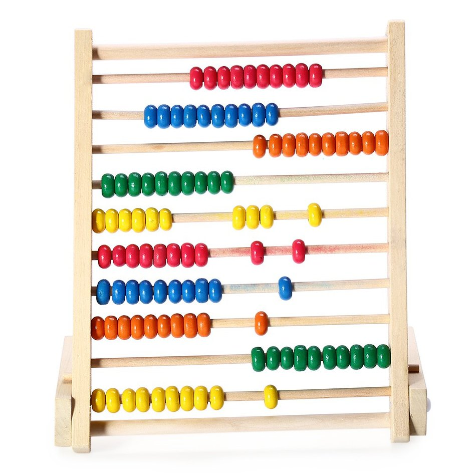 2016 New Wooden Fold Beads 10 rows Abacus Counting Educational ...