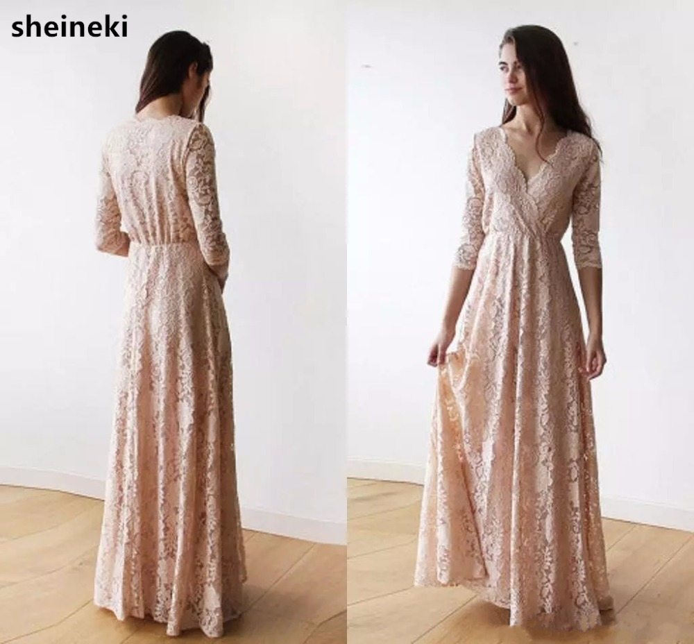 Long-Sleeve Blush Maid V-Neck Honor Wedding-Guest Junior Pink Dressesplus-Size Lace Of