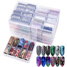 цены 10pcs/box Nail Foil Sticker Kit 120*4cm Nail Art Sticker Press on Nails Manicure Decoration Sets Nail Art Foil Decal Design NTZ