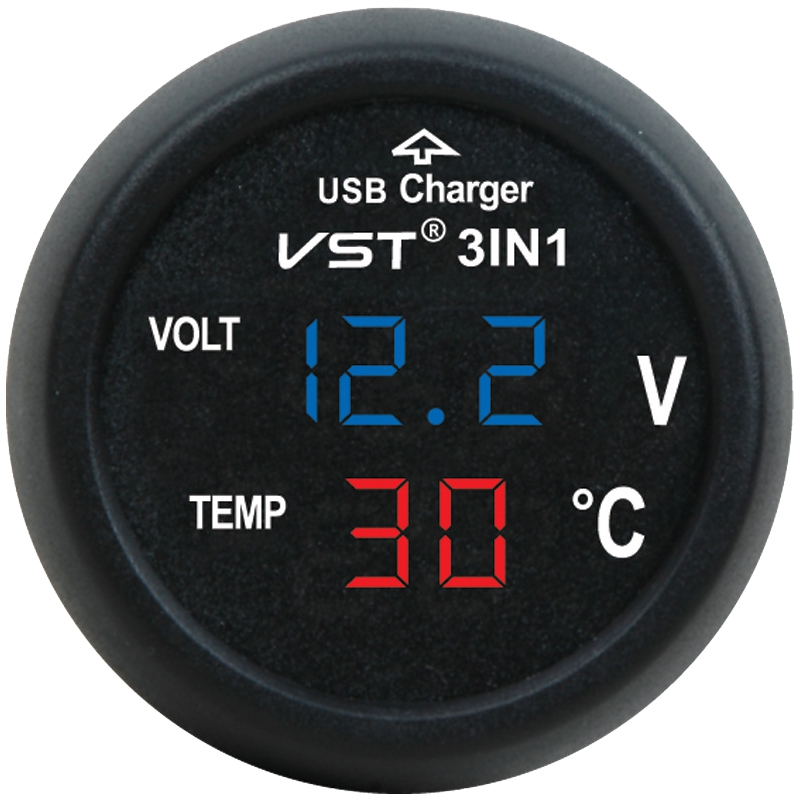3 in 1 Digital LED Car Voltmeter Thermometer Auto Car USB Charger 12V/24V Temperature Meter Voltmeter 1pc 3 in 1 auto car usb charger 12v 24v temperature meter voltmeter digital led car voltmeter thermometer