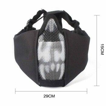 Demi-visage tactique en acier filet maille masque chasse protecteur garde masque couverture pour Airsoft oreille protection demi-visage maille masque
