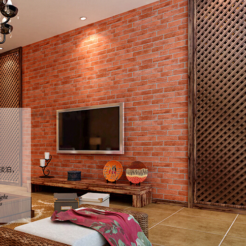 Red Wallpaper Stone Brick Wall Paper Vintage Waterproof Living Room
