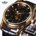 Fashion Brand Winner Leather Band Men Skeleton Automatic Mechanical Watch Men Dress Diamond Mechanical Wristwatch gift box