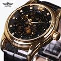 Moda Marca Vencedor Couro Banda Men Skeleton Relógio Mecânico Automático Dos Homens caixa de presente Diamante Vestido relógio de Pulso Mecânico