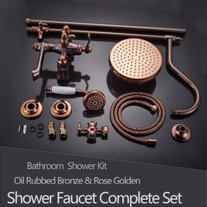 Image 5 - Oil Rubbed Bronze Shower Faucet System Rainfall Rose Golden and Bronze Bathroom Shower Mixer Shower Set Faucet Swivel Spout