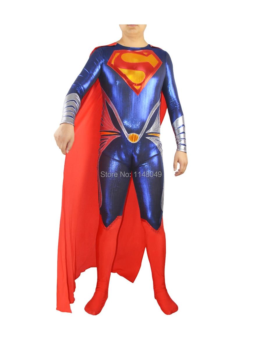 Man of Steel Superman Shiny Metallic Superhero Costume Halloween Costume